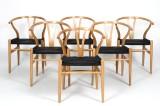 Hans J. Wegner. Set of six Y chairs in matte varnished oak (6)