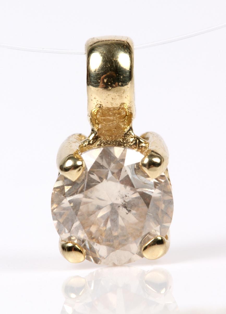 Brillant vedhæng, 14 kt guld, 0.70 ct - Diamant vedhæng udført af 14 kt guld prydet med brillant på ca. 0.70 ct. Farve: Light Champagne (M) Klarhed: P1