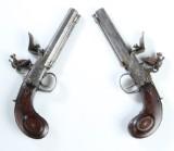 Par Queen Anne boxlås flintlåspistoler, ca. 1760 (2)