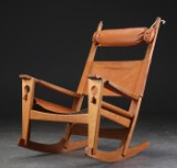Hans J. Wegner. 'Nøglehullet' rocking chair, model GE-673, cognac-coloured leather