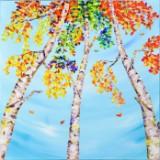 Lena Smirnova, akryl på lærred, 'Birketræer'
