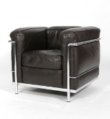 Le Corbusier. Easy chair, model LC2, brown leather