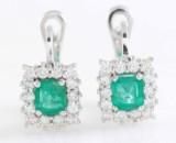 Earrings in 14k with Emeralds & brilliant  cut diamonds