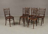 Hoffman/Mundus Wien. Six café chairs, moulded wood (6)