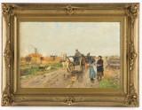 Hugo Mühlig, landevej med hestevogn, olie på træ
