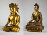 Konvolut Buddhas, Kultfiguren kleiner Buddha, Messing (2)