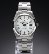 Vintage Rolex Date men's watch, steel, white dial with roman numerals, c. 1979