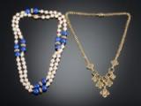 To halskæder med guld perler og forgyldt sølv (2)