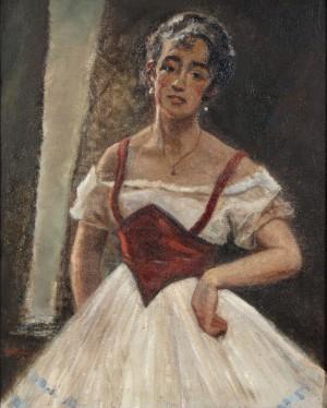 Christian Aigens, Ballerina. Olie på lærred, - Dk, Herning, Engdahlsvej - Christian Aigens (1870-1940). Ballerina. Olie på lærred, sign. Chr. Aigens. Mål 85 x 68 cm, (97x82) - Dk, Herning, Engdahlsvej