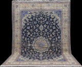 Carpet, a large figural Nain with silk outlines, 462 x 305