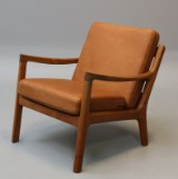 Ole Wanscher. Lounge chair, Model Senator, in teak and aniline leather