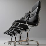 Charles Eames. Sæt på fire Soft Pad armhairs - Full Leather, model EA-212 (4)