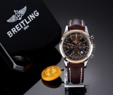 Breitling 'Transocean Chronograph'. Men's watch, 18 kt. rosé gold and steel, with bronze-coloured dial, 2010s