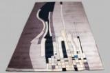 John Günther, tæppe, gråt med geometrisk mønster, 584 x 353 cm