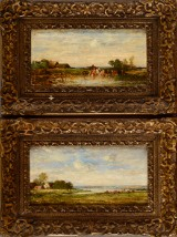 Leon-Victor Dupré, oil on wood, cows being watered at a pond and river landscape, oil on wood (2)