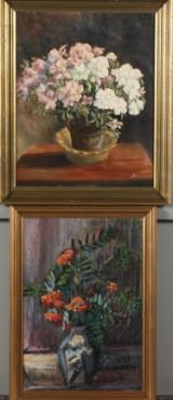Ubekendte malere, 1900-tallet. Opstilling med blomster i krukke. To olie på lærred. (2)