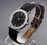 Bvlgari. Unisex eatch, steel with black dial and date, c. 1998