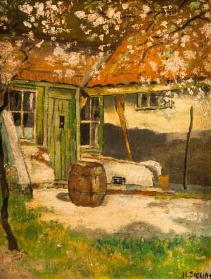 ltere gem lde unbekannter maler l ndliche hofansicht lgem lde de hamburg. Black Bedroom Furniture Sets. Home Design Ideas