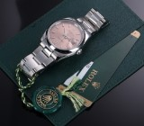 Rolex 'Date'. Men's watch, steel with rose-coloured dial - certificate 2006
