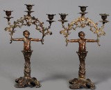 Et par bronzebelagte zinklysestager slut 1800-tallet (2)