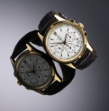 Zenith 'Prime'. Men's chronograph, gilt steel, with white dial, 1990s