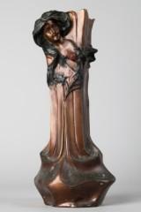 Jugendstil Schirmständer / Vase mit Frauenmotiv