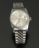 Rolex Datejust men's watch, steel, silver-coloured dial with date