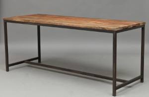 Dining table, Chinese recycled elm, black/grey metal base, L. 180cm ...