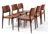 Niels O. Møller. Six chairs in rosewood, model 65 (6)