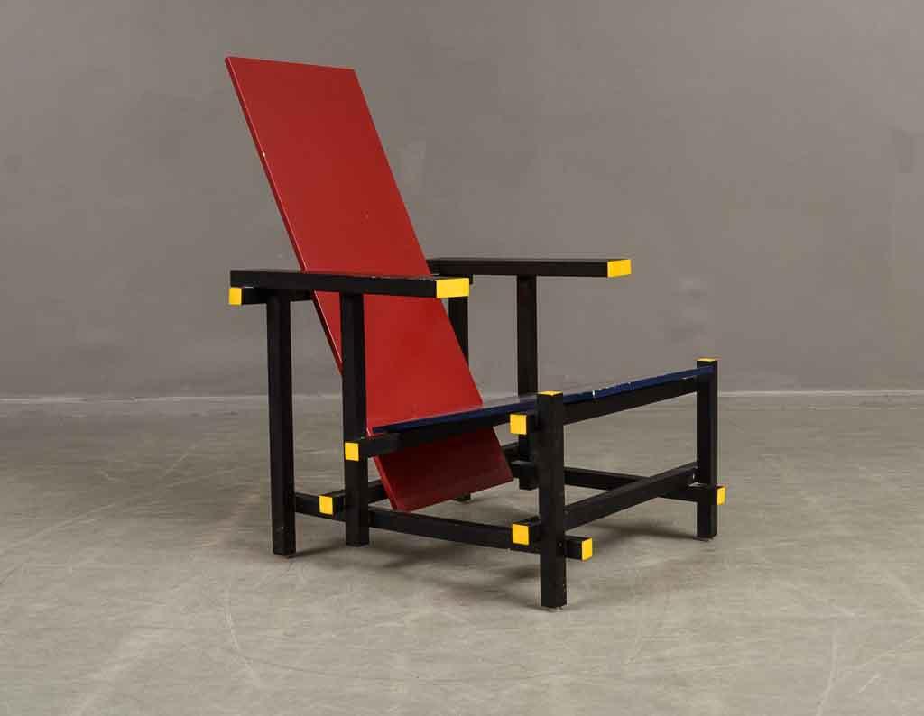 Stoel Gerrit Rietveld : Gerrit rietveld röd blå stol stuhl lauritz
