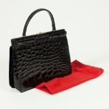 Handväska i krokopräglat skinn, vintage
