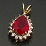Rubin- og diamant vedhæng, 9 kt guld