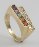18k diamond and gem ring approx. 0.18ct