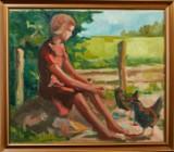 Bendt Lauridsen. Pige med høns. Olie på lærred (cd)