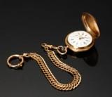 Lommeur af 14 kt guld med kæde af double
