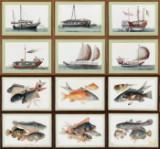 Ubekendt kinesisk kunstner 1800-tallet: 12 fiske- og marinebilleder