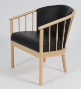 Stouby Design. Spoke-Back Chair, with black leather cushions, beech frame