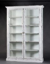 Display cabinet with white antique paint finish