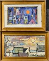 Gunnar L. Nielsen (tilskrevet), olie på plade, motiver med huse og personer (2)
