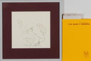 Frans Kannik, litografisk trykt særudgivelse samt signeret forlæg til indvendig vignet, 120 Dage i Sodoma af Marquis D.A.F. de Sade. cd. (2) - Dk, Herlev, Dynamovej - Litografisk særudgave af Marquis D.A.F. de Sades '120 Dage i Sodoma' samt originalt forlæg til vignet på s. 75, illustreret af Frans Kannik (1949-2011). Udgivet i 1998, bog ombundet i gult Viking Gummi, indvendigt sign. Frans Ka - Dk, Herlev, Dynamovej
