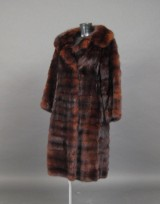 Sable coat, cognac-coloured, in horizontal strips. Size 40/42