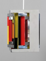 Ole Schwalbe / Simon Henningsen. 'Casablanca'. Four-sided pendant lamp, chromed steel. Signed Schwalbe 159/200
