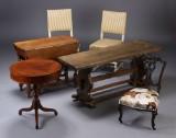 Tre sofaborde samt tre salonstole (6)