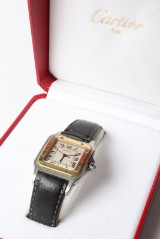 Cartier Santos men's watch, gold and steel, incl. box and papers