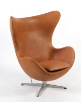 Arne Jacobsen. The Egg. Lounge chair, cognac aniline leather