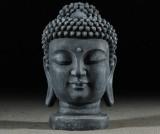 Buddhafigur, huvud, skulptur