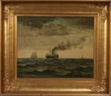 Christian Benjamin Olsen. Marine med sejl og motorskibe udfor kyst. Olie på malerpap monteret på lærred