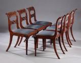 Sæt på seks senempire stole af mahogni, ca. 1830. (6)