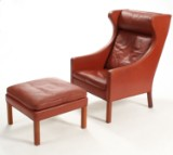 Børge Mogensen. Wing chair with footstool, Models 2204 and 2202 (2)