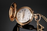 Double-capsuled French pocket watch, 14 kt. gold with repetition and bracelet, 14 kt. gold (2)